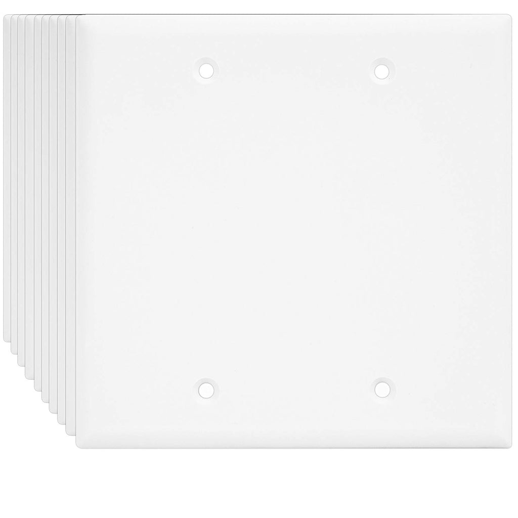 ENERLITES Blank Cover Wall Plate, Standard Size 2-Gang, Polycarbonate Thermoplastic, Light Almond (10 Pack) 8802-LA-10PCS