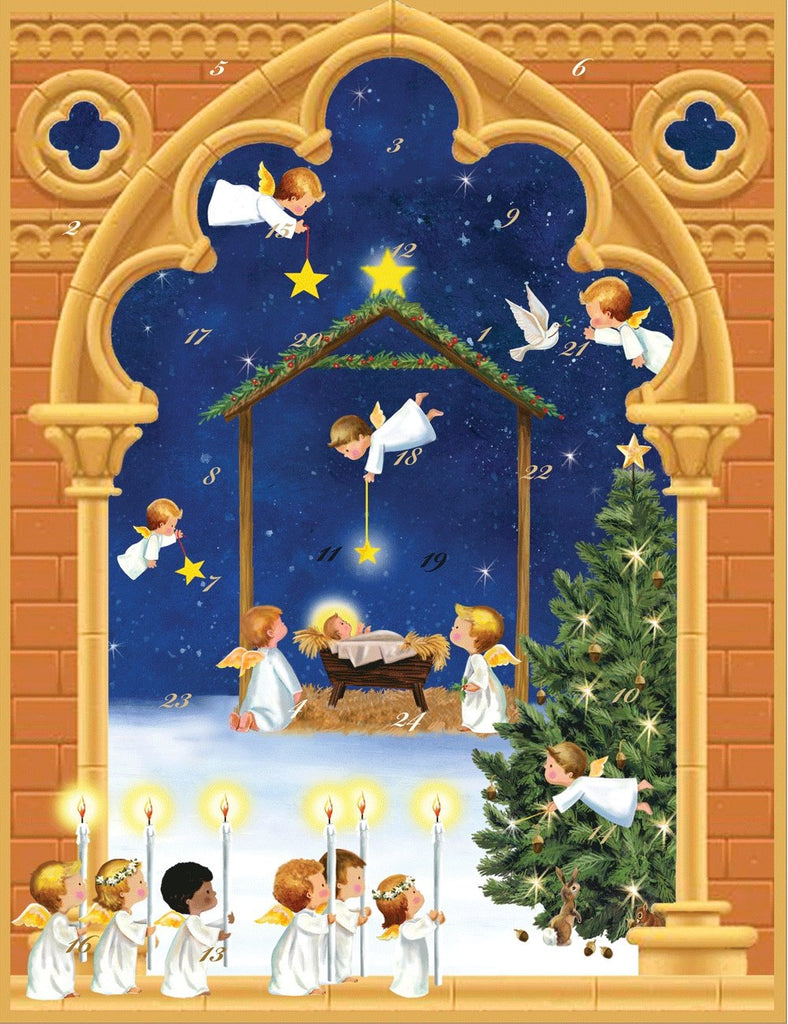 Entertaining with Caspari Angels Advent Calendar with 3-D Relief, 1-Count