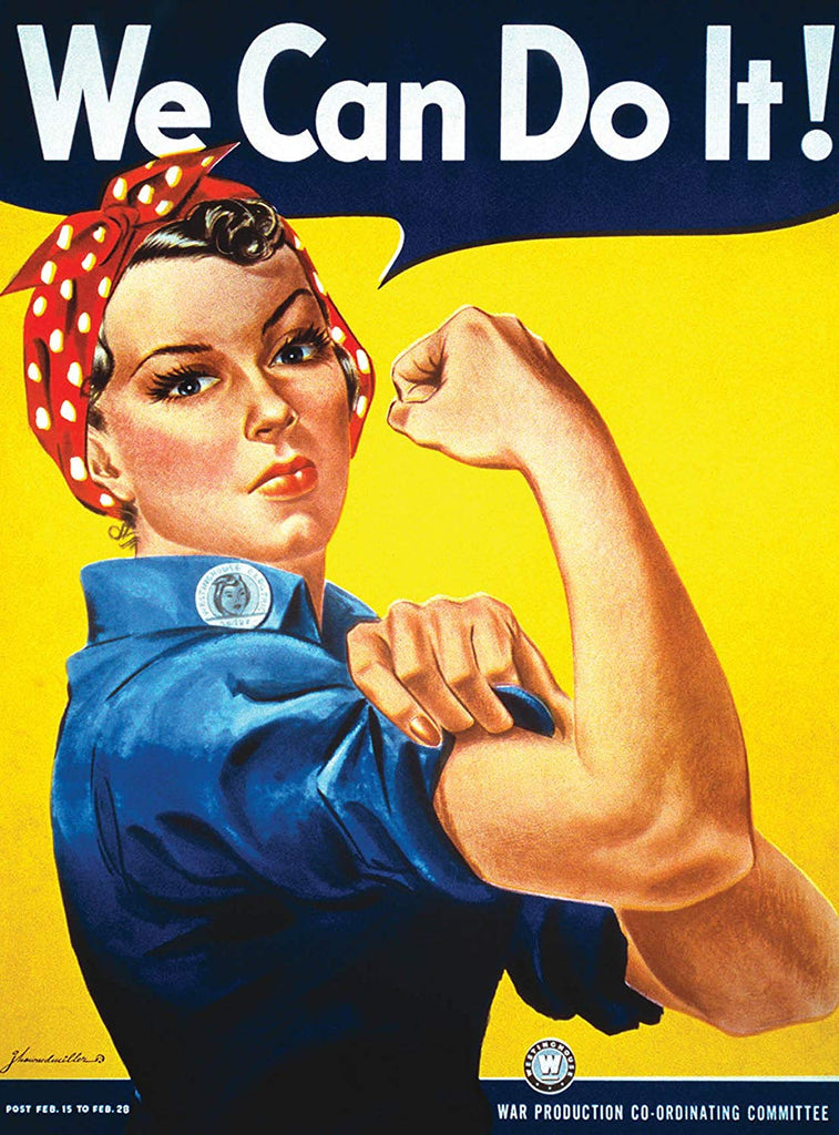 We Can Do It Poster - Rosie the Riveter - Westinghouse Girl - World War 2 Poster - WW2 - LAMINATED (18 x 24)