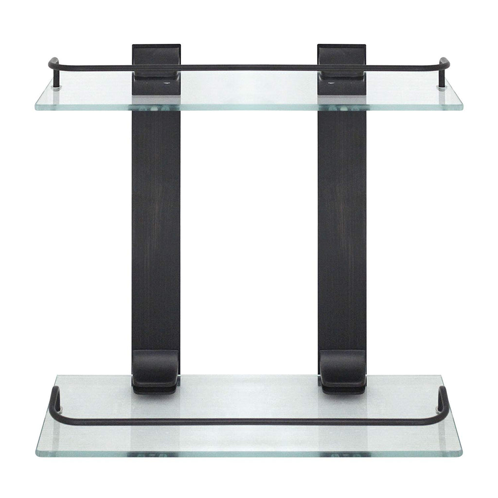 MODONA Double Glass Wall Shelf with Rail – Rubbed Bronze – 5 Year Warrantee