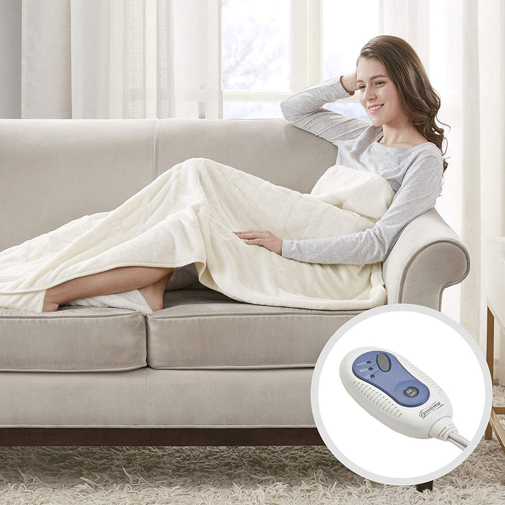 "Beautyrest - Heated Electric Throw with Foot Pocket - Solid Microlight Plush - 52"" x 62"" - Ivory - with 3-Setting Heat Controller"
