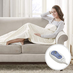 Beautyrest - Heated Electric Throw with Foot Pocket - Solid Microlight Plush - 52