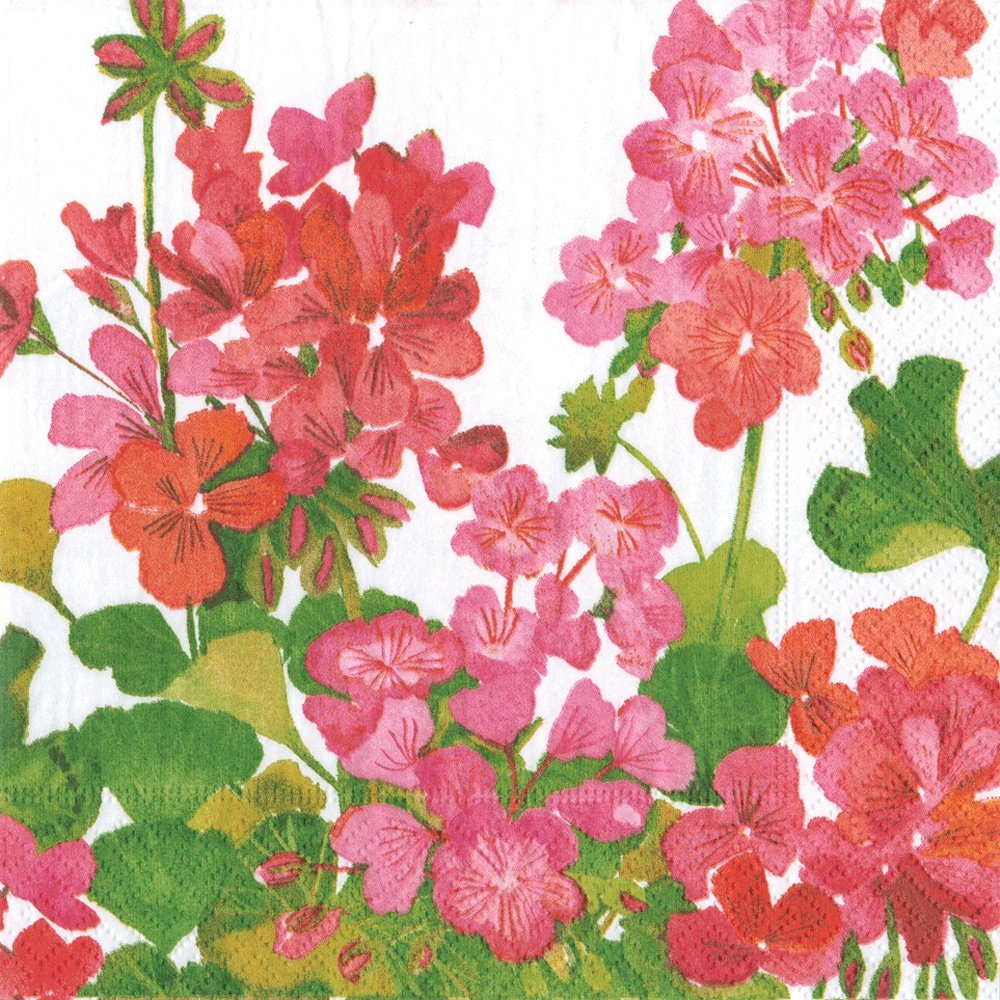 Entertaining with Caspari Geraniums Paper Luncheon Napkins, Pack of 20
