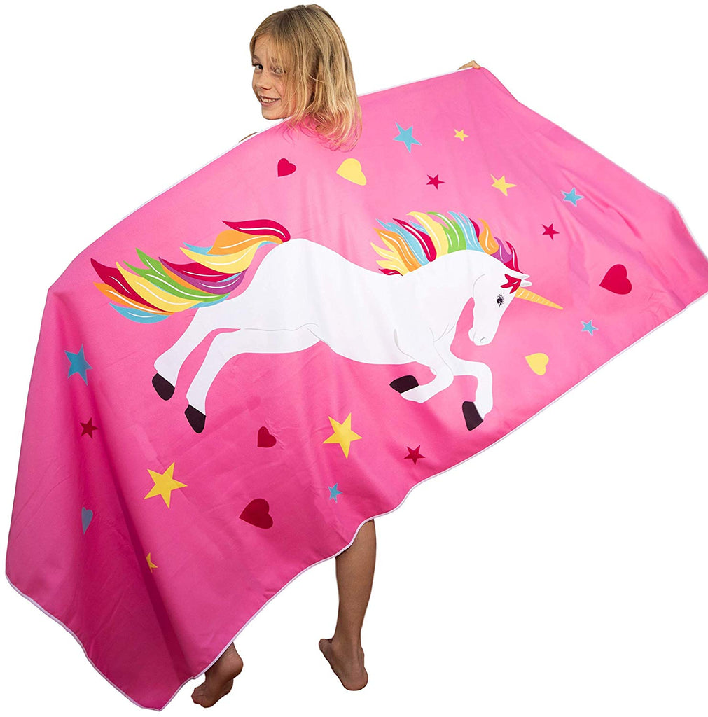 Tuvizo Unicorn Towel - Microfiber Quick Dry Fabric for Beach Swim Pool & Play - Perfect Unicorn Gifts for Girls. (Watch Our Video)