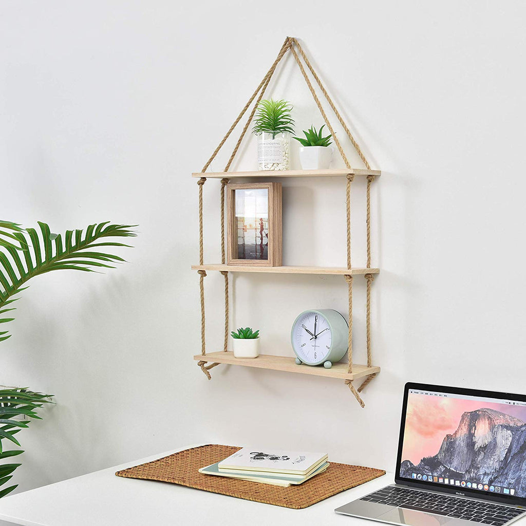 JayDee Decorative Hanging 3 Tier Natural Wood Floating Wall Shelves with Jute Rope-Home Decor Organizer for Any Room!