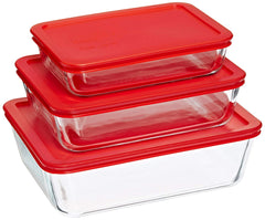 Pyrex Simply Store Glass Food Container Set with Blue Lids (10-Piece)