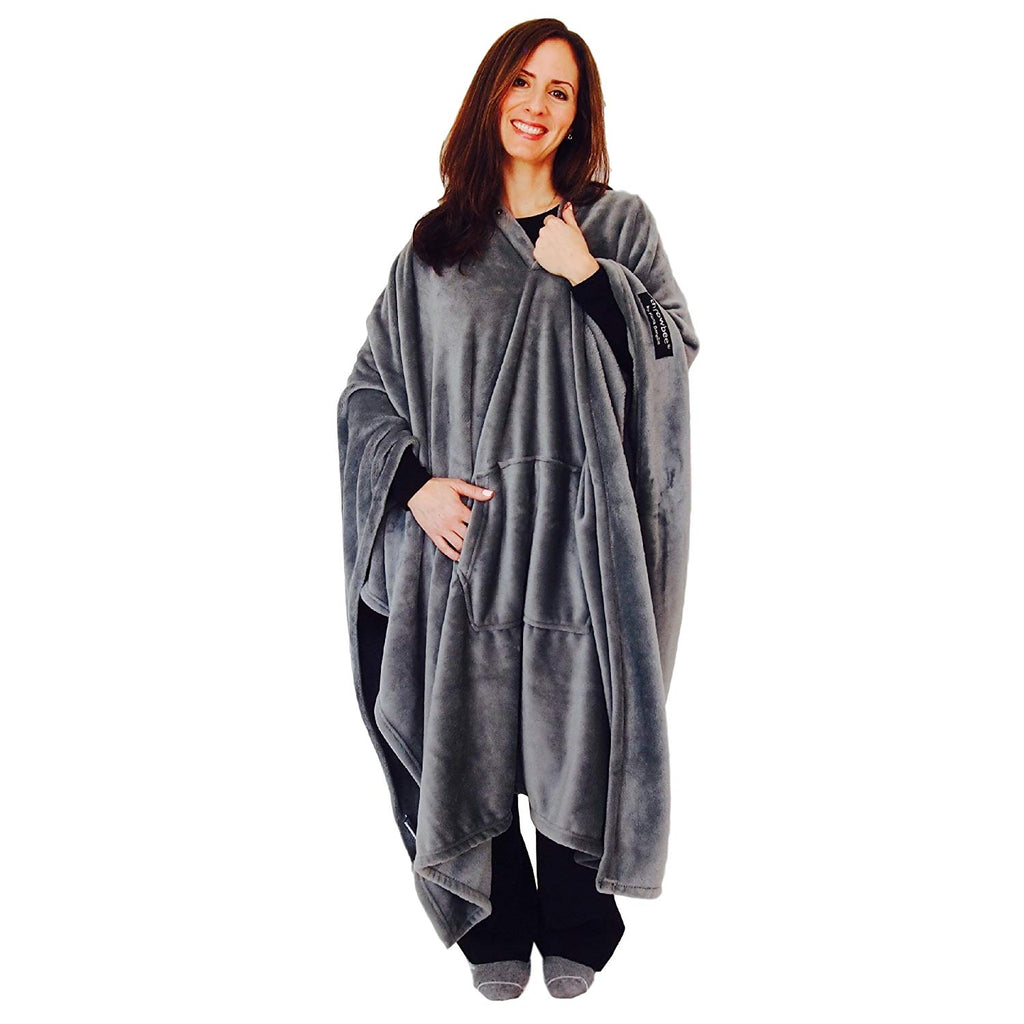 throwbee Original Blanket-Poncho GRAY GREY (Yay! NO SLEEVES) Wearable Throw THE MOST COMFORTABLE and SOFTEST EVER!!! Indoors or Outdoors - men women k