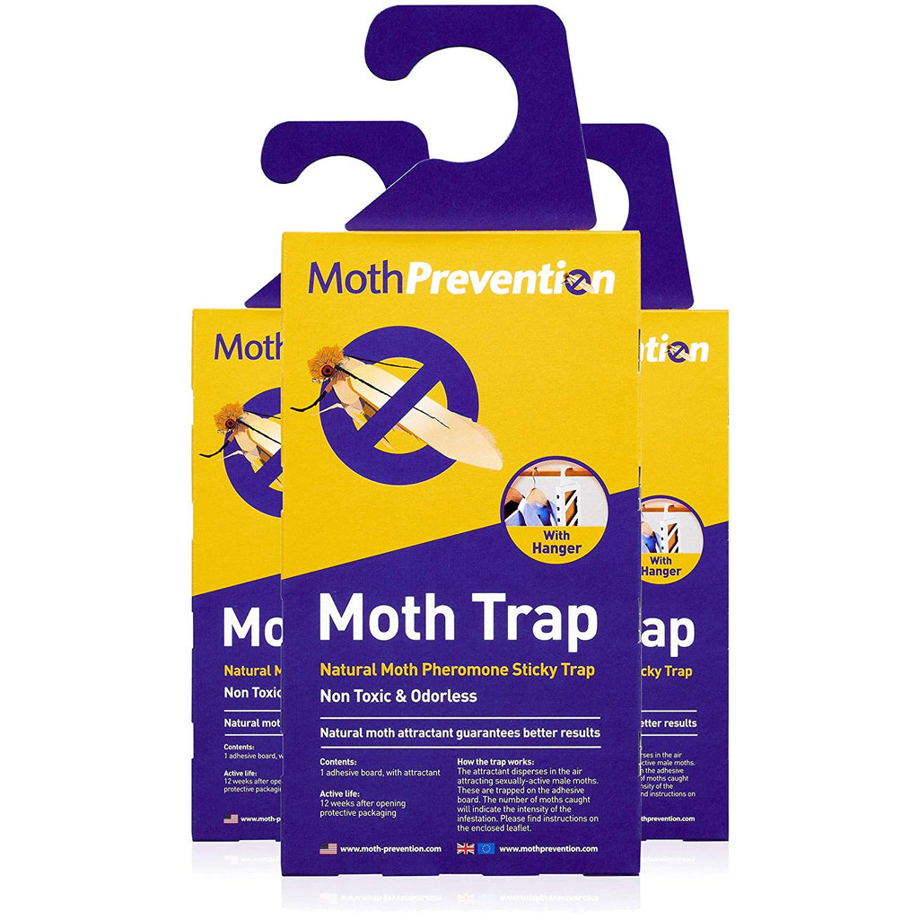 POWERFUL MOTH TRAPS FOR CLOTHES MOTHS | 3-Pack | Refillable, Odor-free & Natural from MothPrevention | Best Catch-Rate for Clothes Moth and Carpet Mot