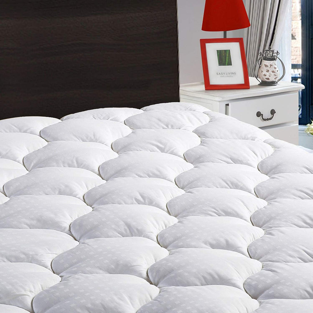 "LEISURE TOWN Cal King Mattress Pad Cover Cooling Mattress Topper Cotton Top Pillow Top with Snow Down Alternative Fill (8-21""Fitted Deep Pocket)"
