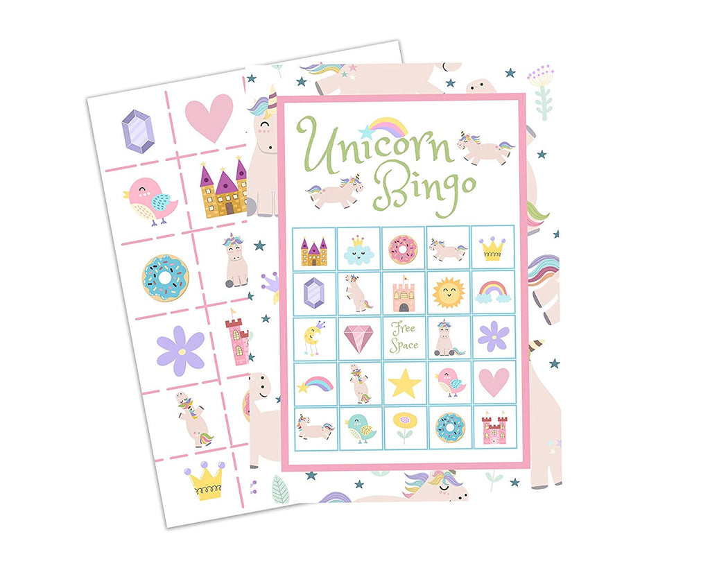 For 24 Players with Unicorn Birthday Prize Buttons Unicorn Bingo Magical Kids Party Game for All Ages