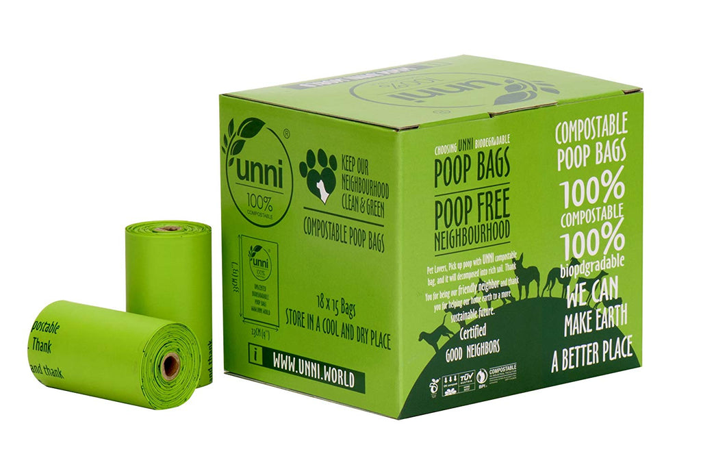"UNNI 100% Compostable Pet Poop Bags, Dog Waste Bags, 270-Count, 18 Refill Rolls, Size:9""x13"", Extra Thick 0.8 Mils,Earth Friendly Highest ASTM D6400,U"