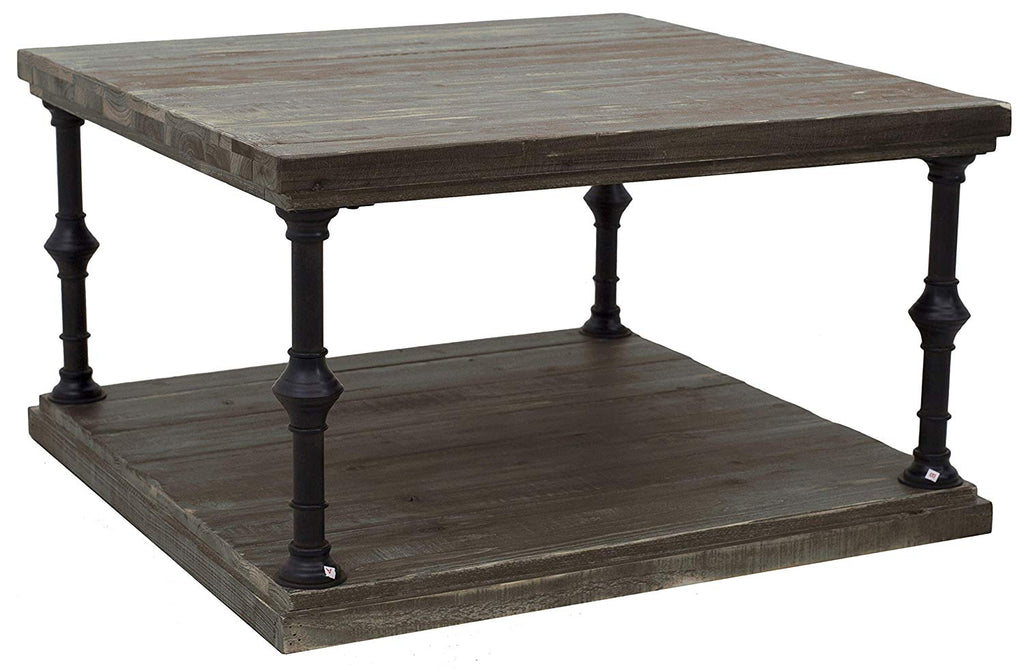 "Ravenna Home Jessica Rustic Open Storage Large Side Table, 15.7""H, Distressed Wood"