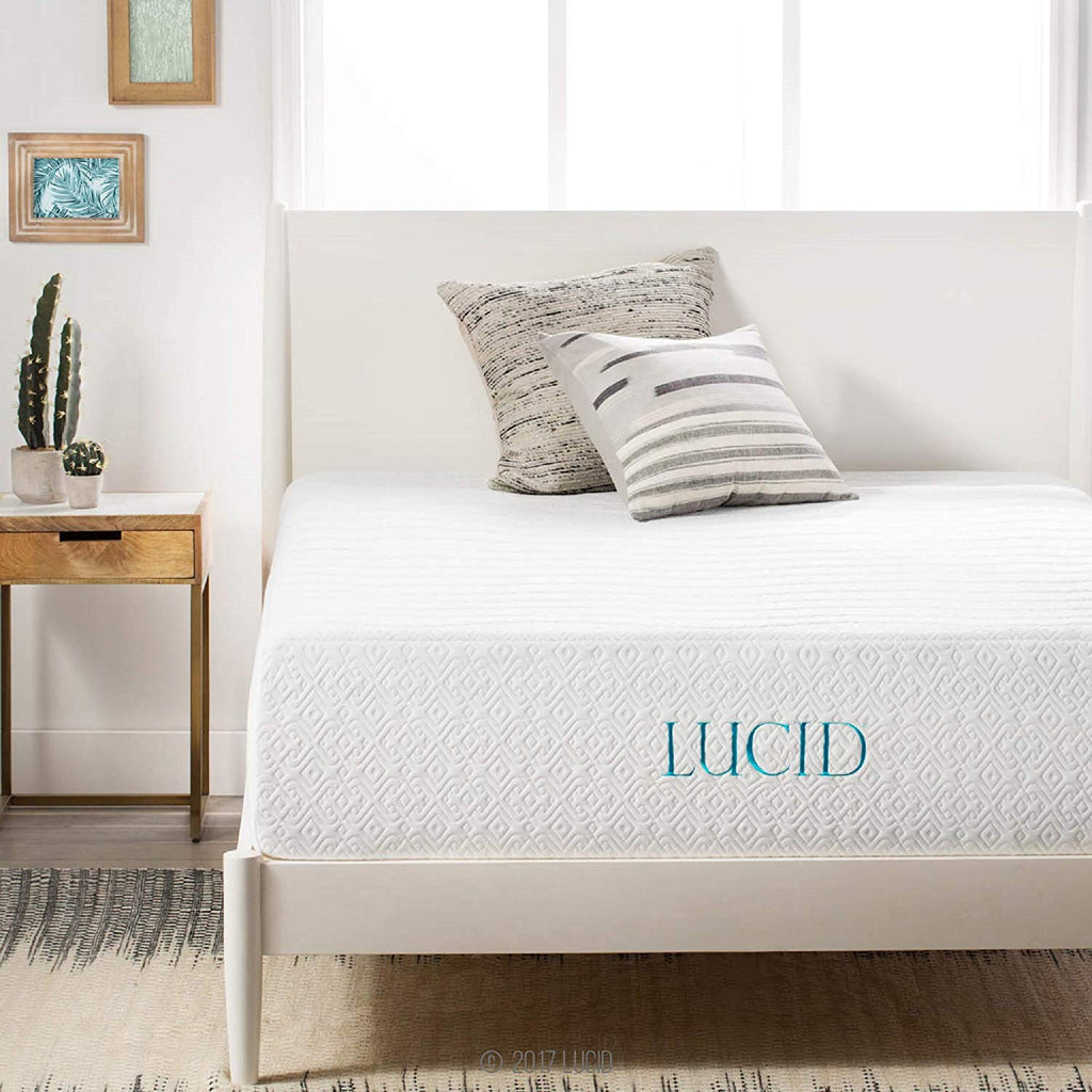 LUCID 14 Inch Memory Foam Mattress - Triple-Layer - 5.3 Pound Density Ventilated Gel Memory Foam - CertiPUR-US Certified - 10-Year Warranty - Twin  wi