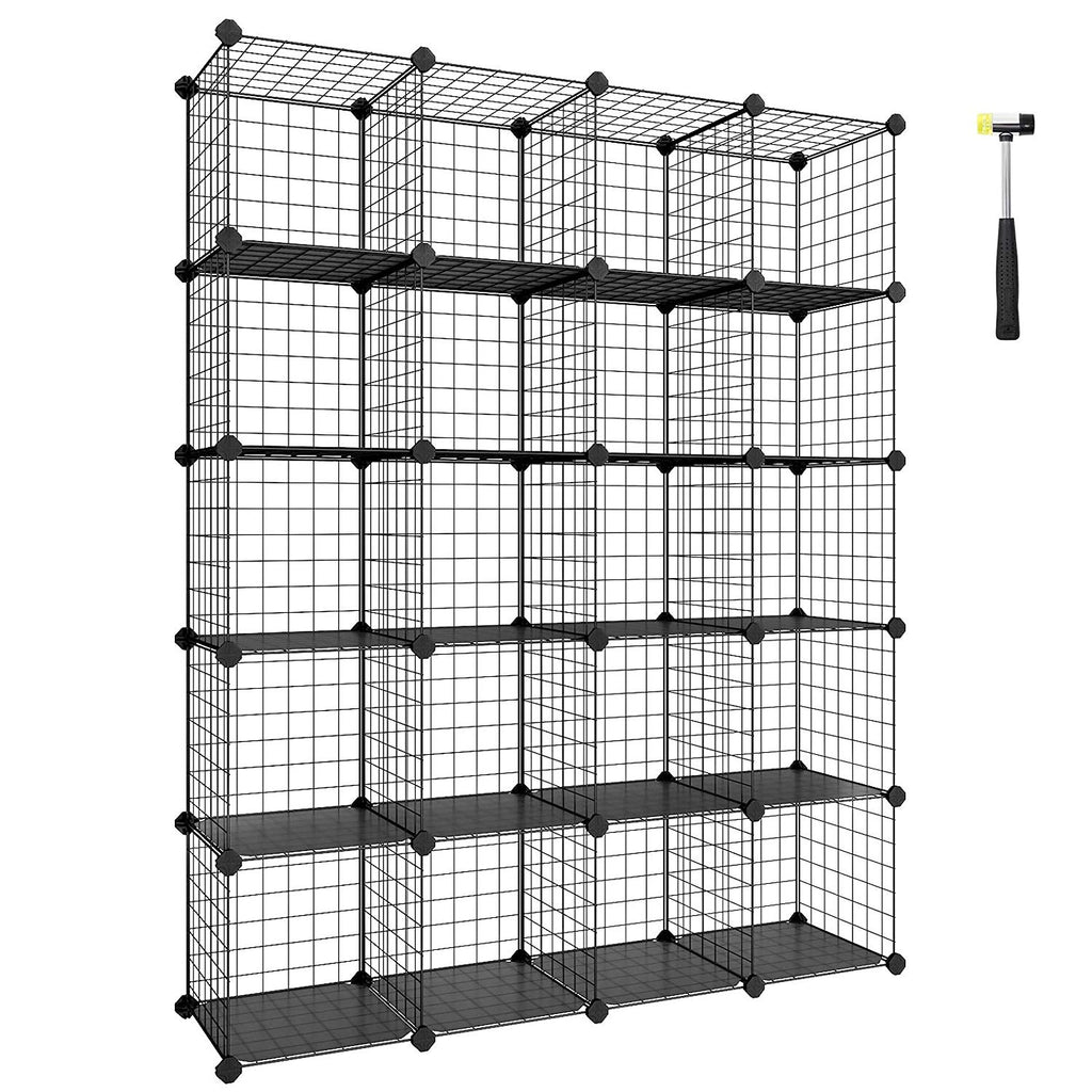 "SONGMICS Wire Storage Cubes, 20-Cube Modular Rack, Storage Shelves, PP Plastic Shelf Liners Included, 48.4"" L x 12.2"" W x 60.2"" H, Black ULPI45H"