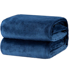 Bedsure Flannel Fleece Luxury Blanket Washed Blue Twin Size Lightweight Cozy Plush Microfiber Solid Blanket