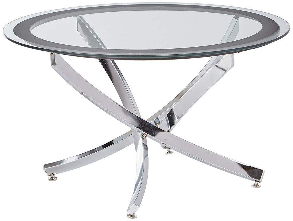 Norwood Coffee Table with Tempered Glass Top Chrome and Clear