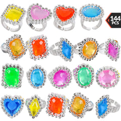 Plastic Rings - (144 Pieces) Bulk Plastic Rings for Bridal Shower, Pirates and Mermaids Treasure, Birthday Parties, Bachelorette, Goodie Bags and Priz