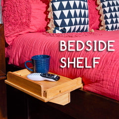 Updated Bedside Caddy Shelf - Sturdy Bunk Bed Or Dorm Room Organizer Tray for Remote Control, Drinks, Laptop, Ipad, and Electronics - Hanging Wooden E