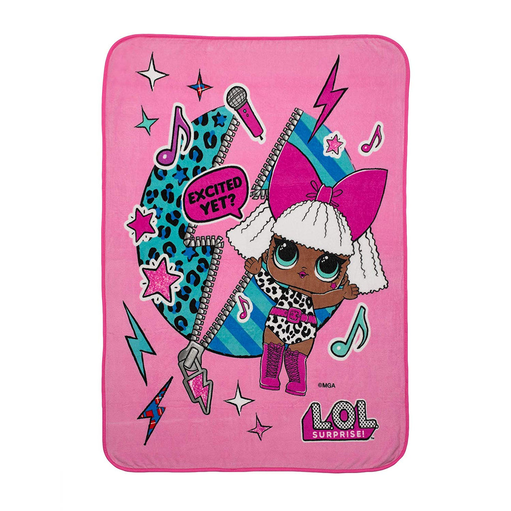 L.O.L. Surprise! Diva Character Kids Bedding Ultra Soft Plush Throw 46  x 60  Pink