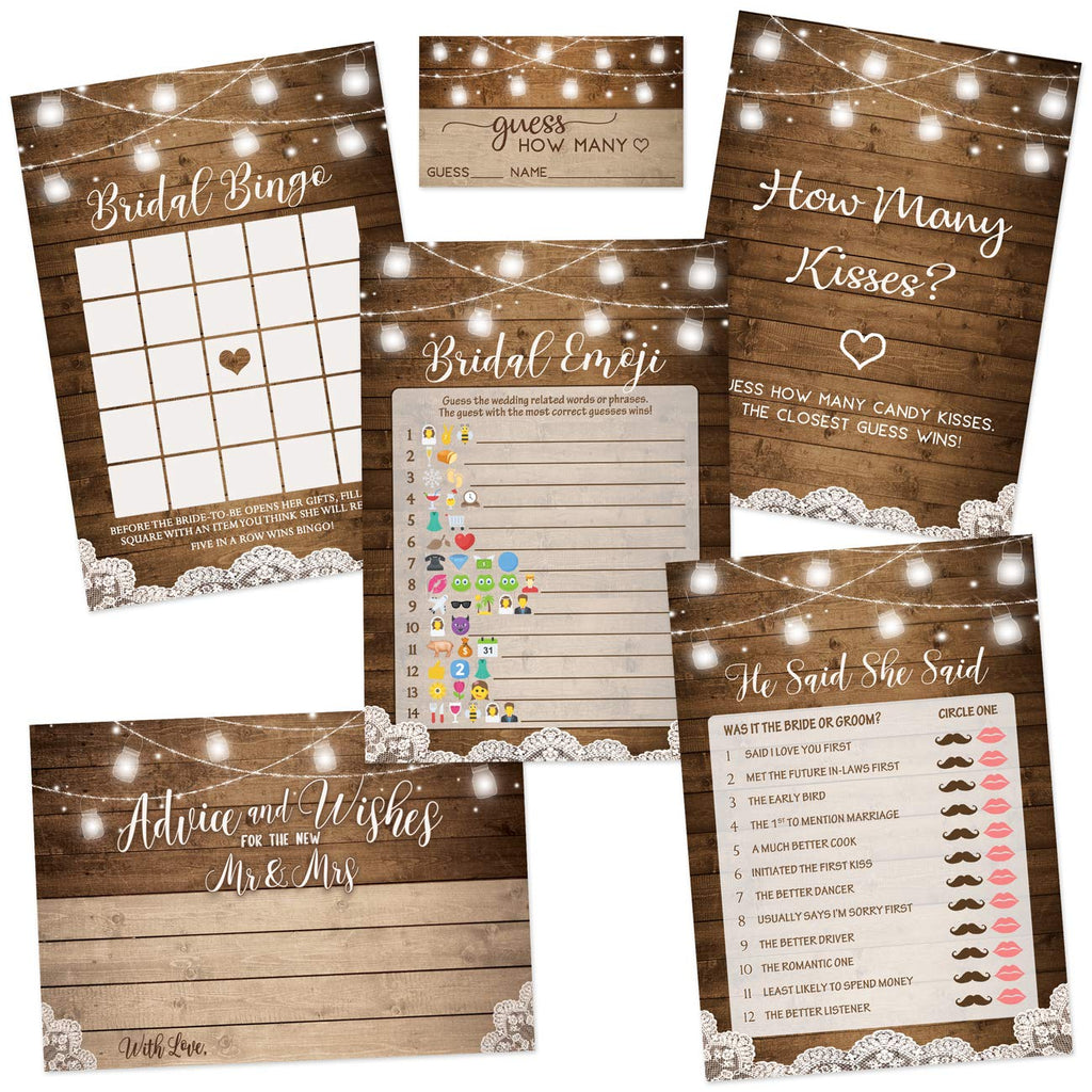 Rustic Bridal Shower Games | Set of 5 Games | 50 Sheets Each | Bridal Shower Games and Wedding Anniversary Activities | Includes Marriage Advice Cards