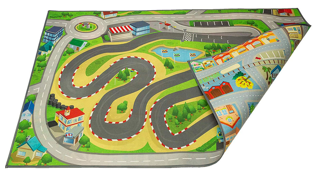 "Kids Double Sided Felt Play Mat - 2 in 1 Racetrack/Town, Indoor/Outdoor, Machine Washable 59"" L x 39"" W…"
