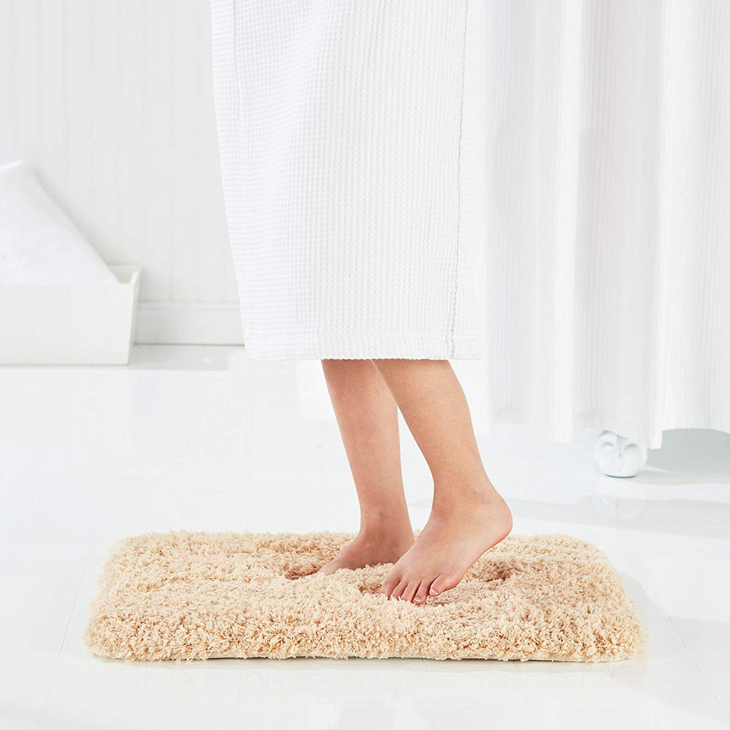 "Genteele Non-Slip Memory Foam Shaggy Bathroom Mat, Water Absorbent, Super Plush, Washable Bathroom Rug, 21"" X 34"", Tanned Beige"