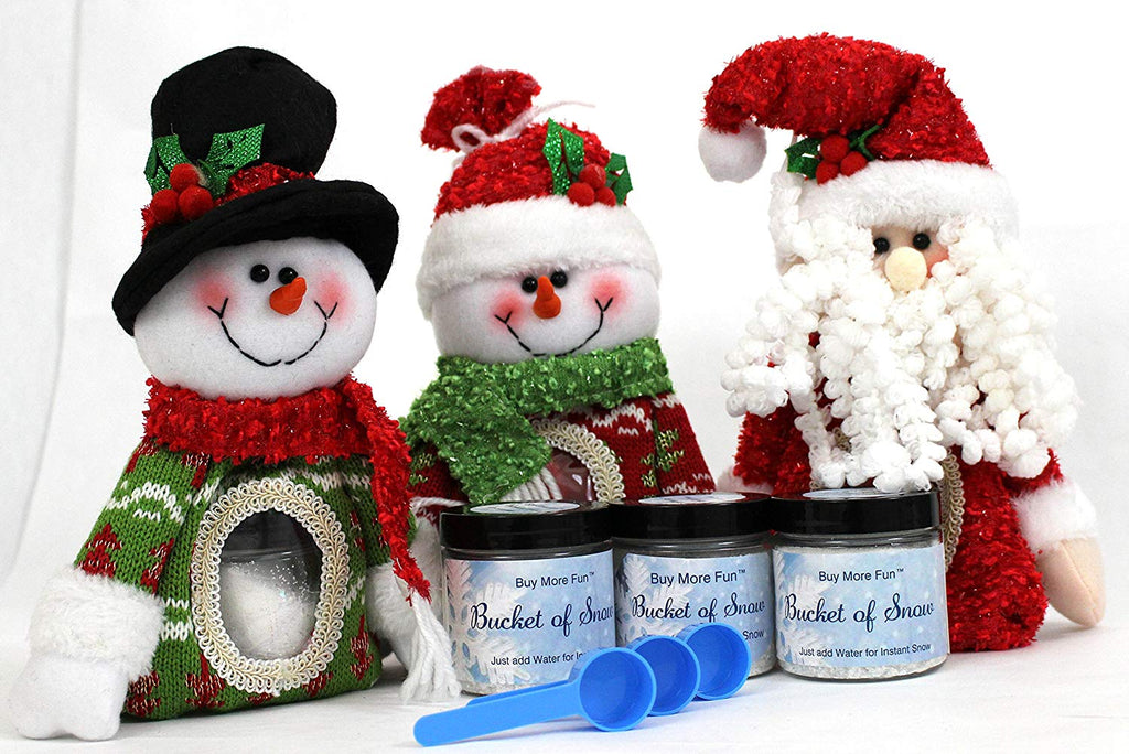 Bundle of Three Santa Snowman Stocking Stuffer Bags with Bucket of Instant Snow Glitter Powder