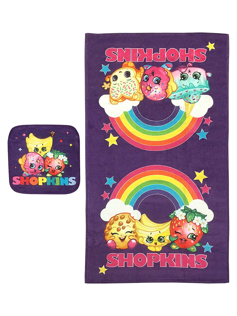 Shopkins Rainbow Cotton 2 Piece Purple Bath/Wash Set