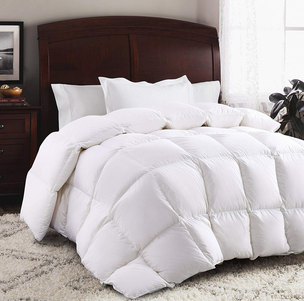 ROSECOSE Luxurious Goose Down Comforter King Size Duvet Insert All Seasons Solid White Hypo-allergenic 1200 Thread Count 750+ Fill Power 100% Cotton S