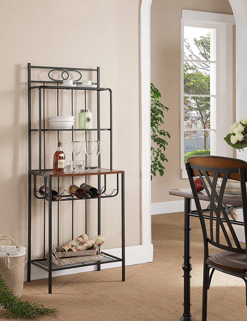 Kings Brand Furniture Metal with Wood Bakers Rack with Wine Storage