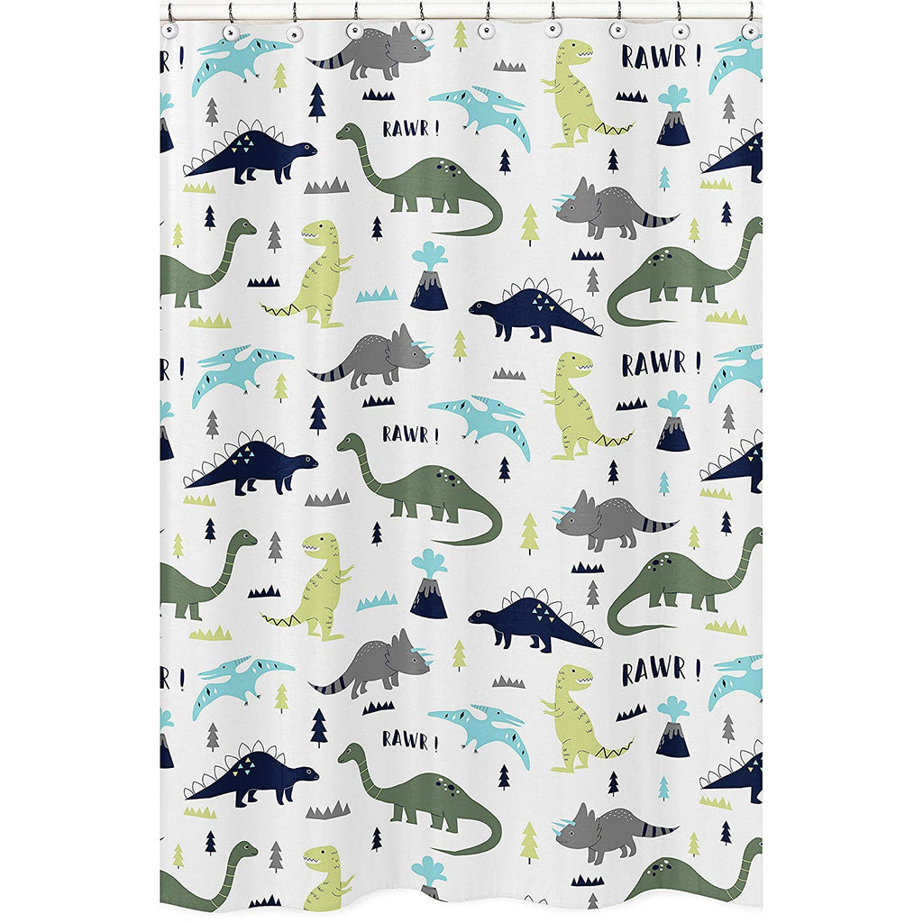 Blue and Green Modern Dinosaur Childrens Kids Bathroom Fabric Bath Shower Curtain