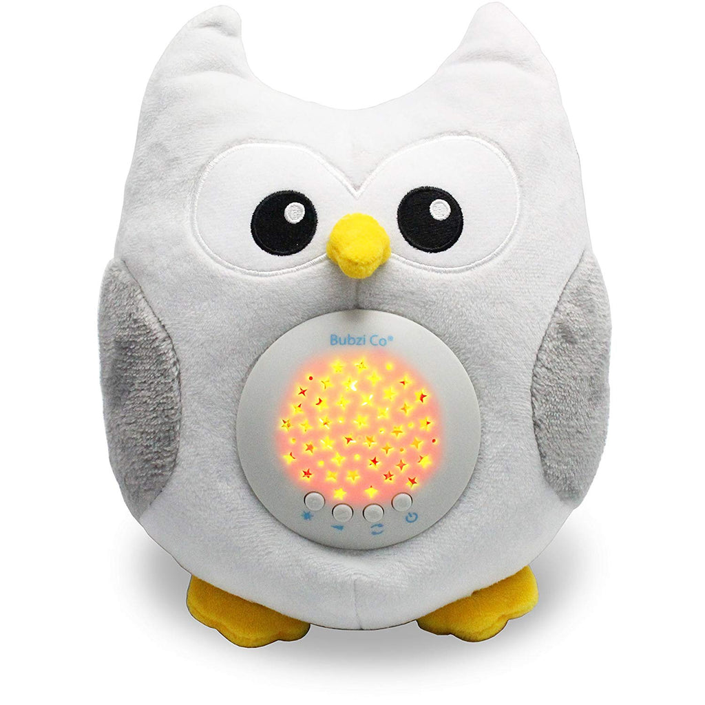 Bubzi Co White Noise Sound Machine & Sleep Aid Night Light. New Baby Gift, Woodland Owl Decor Nursery & Portable Soother Stuffed Animals Owl with 10 P