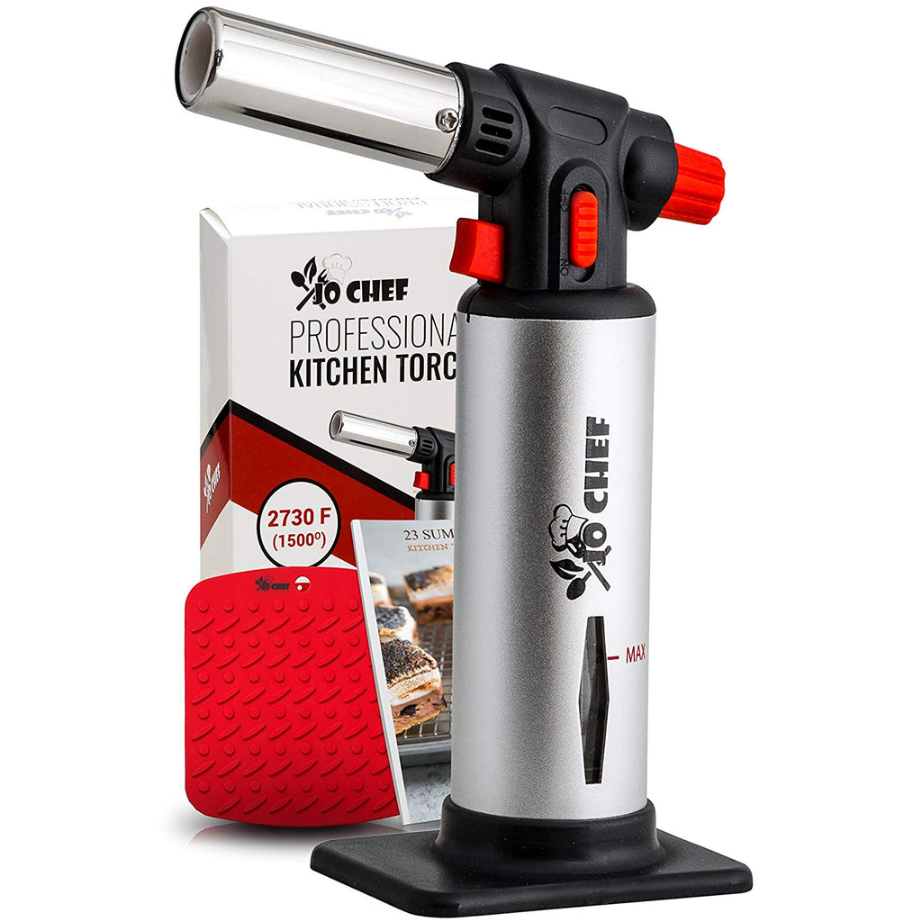 Jo Chef Professional Kitchen Torch – Aluminum Refillable Crème Brulee Blow Torch – Safety Lock & Adjustable Flame + Fuel gauge &nda