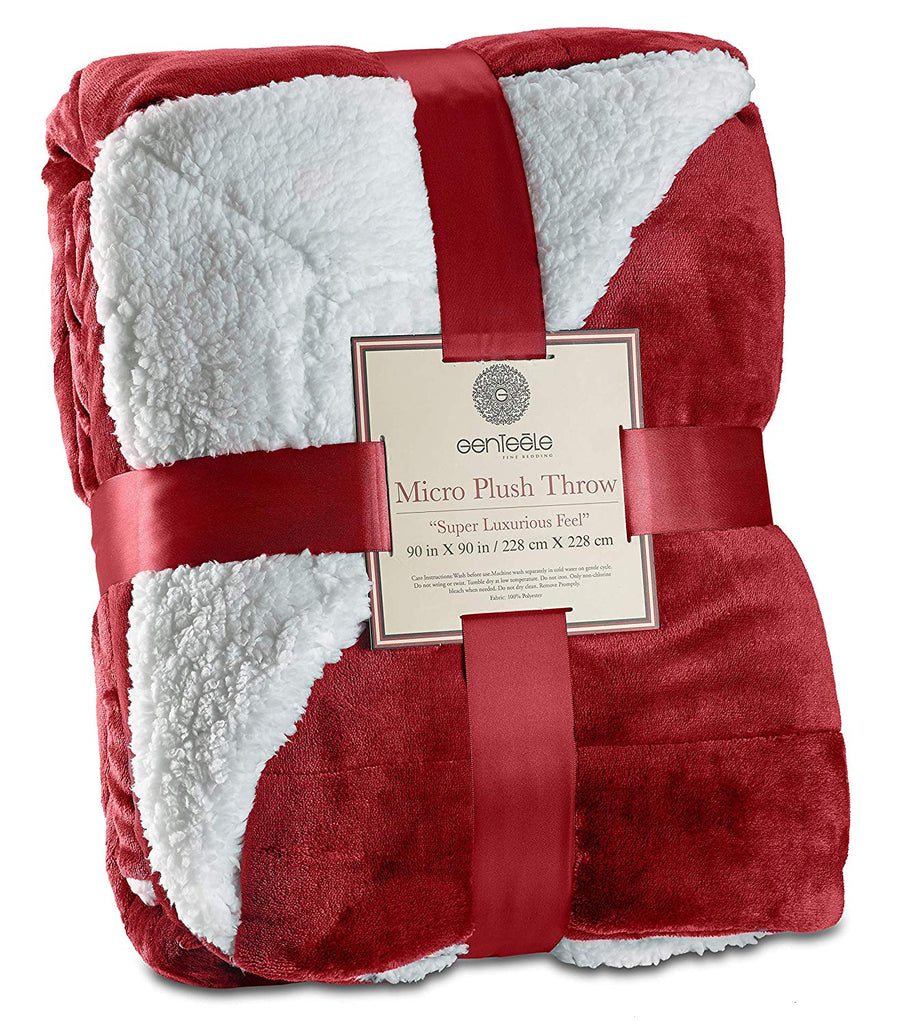 "Genteele Sherpa Throw Blanket Super Soft Reversible Ultra Luxurious Plush Blanket (90"" X 90"" Queen, Rich Burgundy Red)"