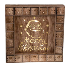 Santa Claus 24 Day Advent Calendar | LED Lit Merry Christmas Decor Theme | Premium Holiday Decor Wooden Construction | Light Natural Wood Color | Meas