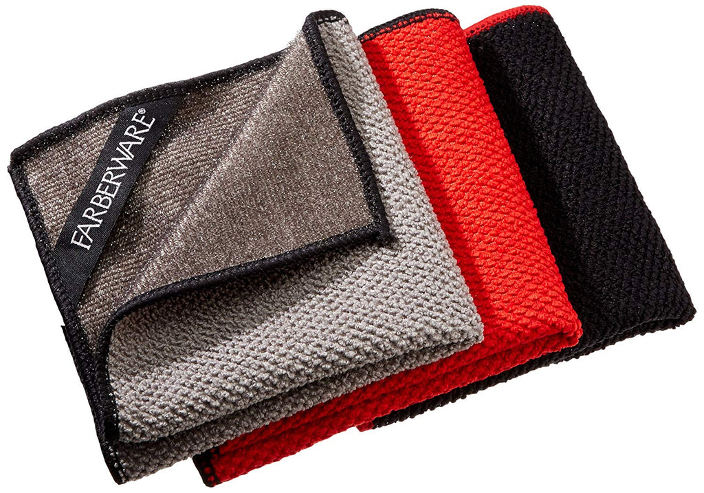 "Farberware 4-in-1 Wash, Dry, Scrub, Polish Microfiber Scrubber Dish Cloths (3 Pack), 12 x 12"", Red/Grey/Black"