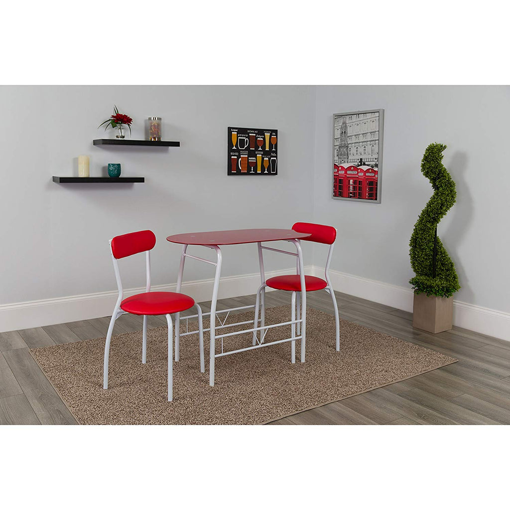 Flash Furniture Sutton 3 Piece Space-Saver Bistro Set with White Glass Top Table and White Vinyl Padded Chairs
