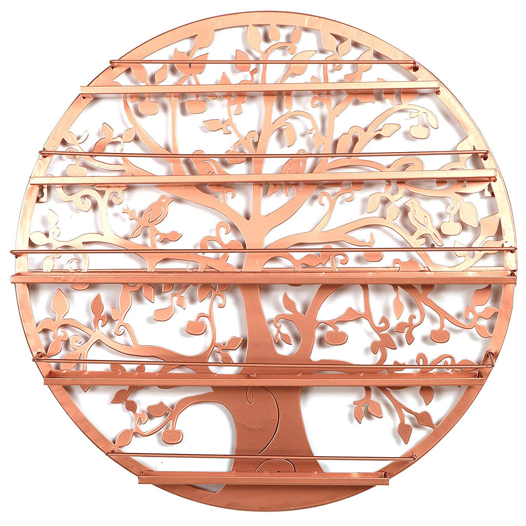 Tree Silhouette Bronze Round Metal Wall Mounted 5 Tier Salon Nail Polish Rack Holder/Wall Art Display