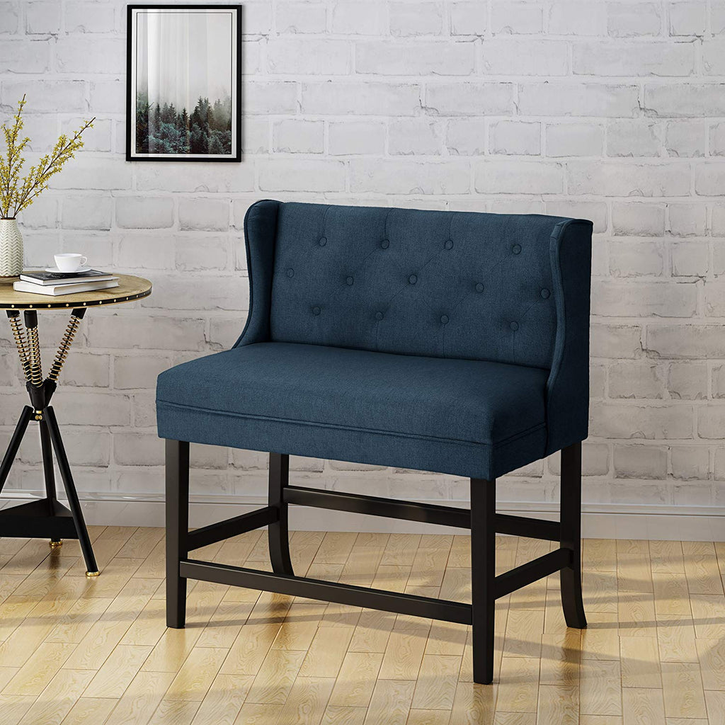 Laraine Winged Tufted Fabric 2 Seater 28 Inch Barstool, Navy Blue