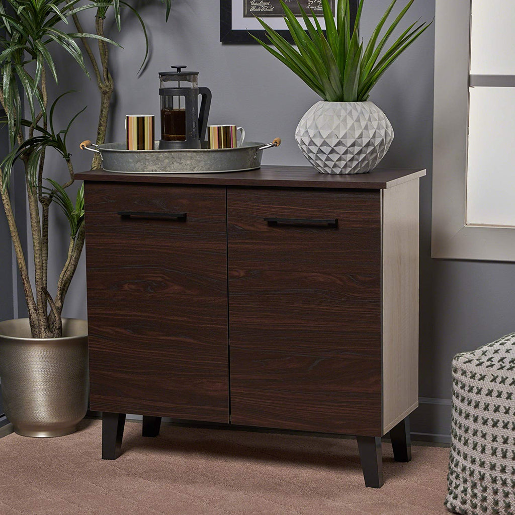 Christopher Knight Home 303652 Wilnona Modern 3-Shelf Faux Wood Cabinet Walnut/Sonoma Oak/Black