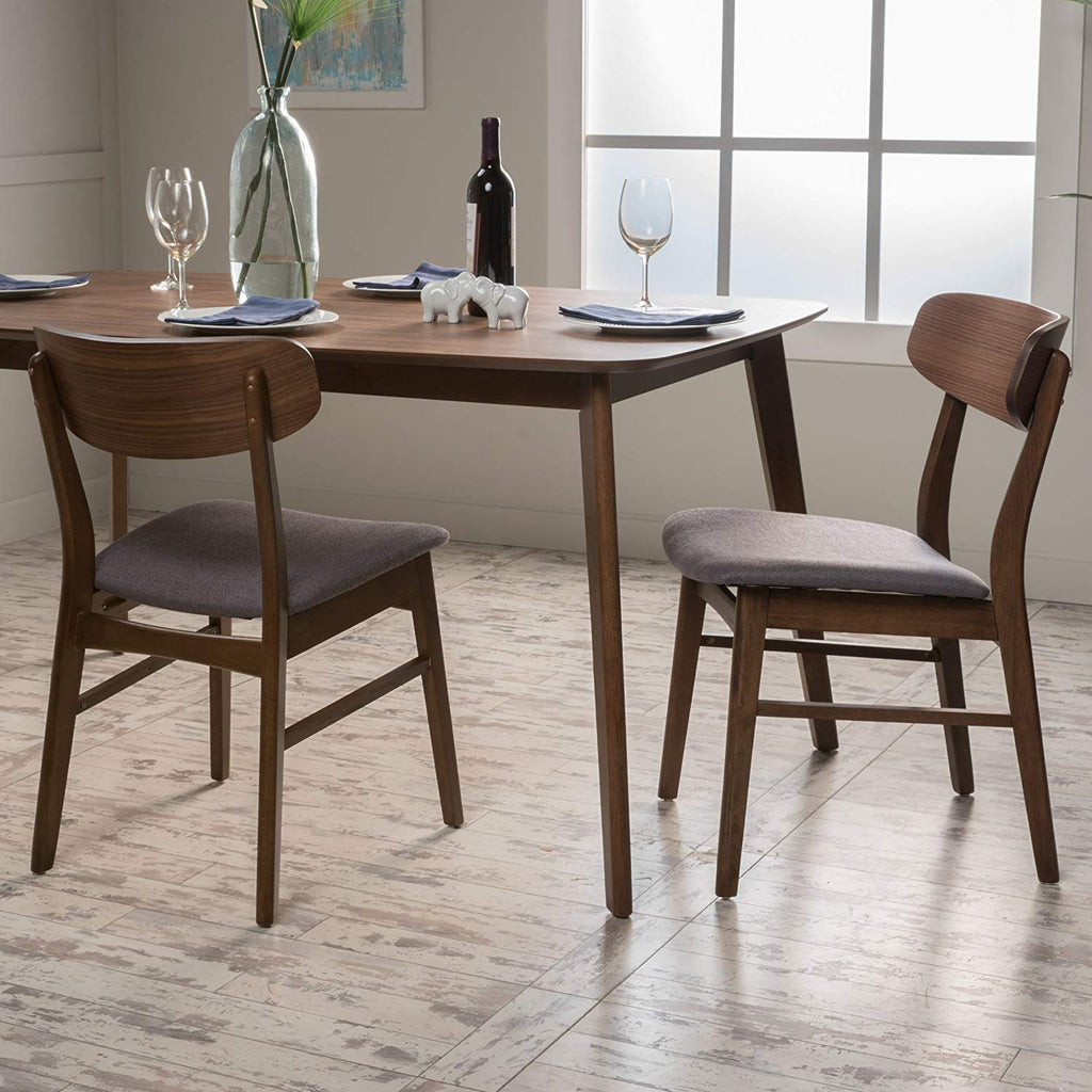 Lucille Dark Grey Fabric/Walnut Finish Dining Chair (Set of 2)