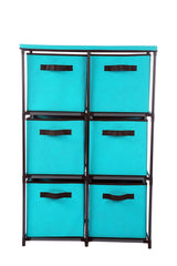 Homebi 6-Drawer Storage Chest Shelf Unit Storage Cabinet Multi-Bin Organizer with Removable Non-woven Fabric Bins in Turquoise,25