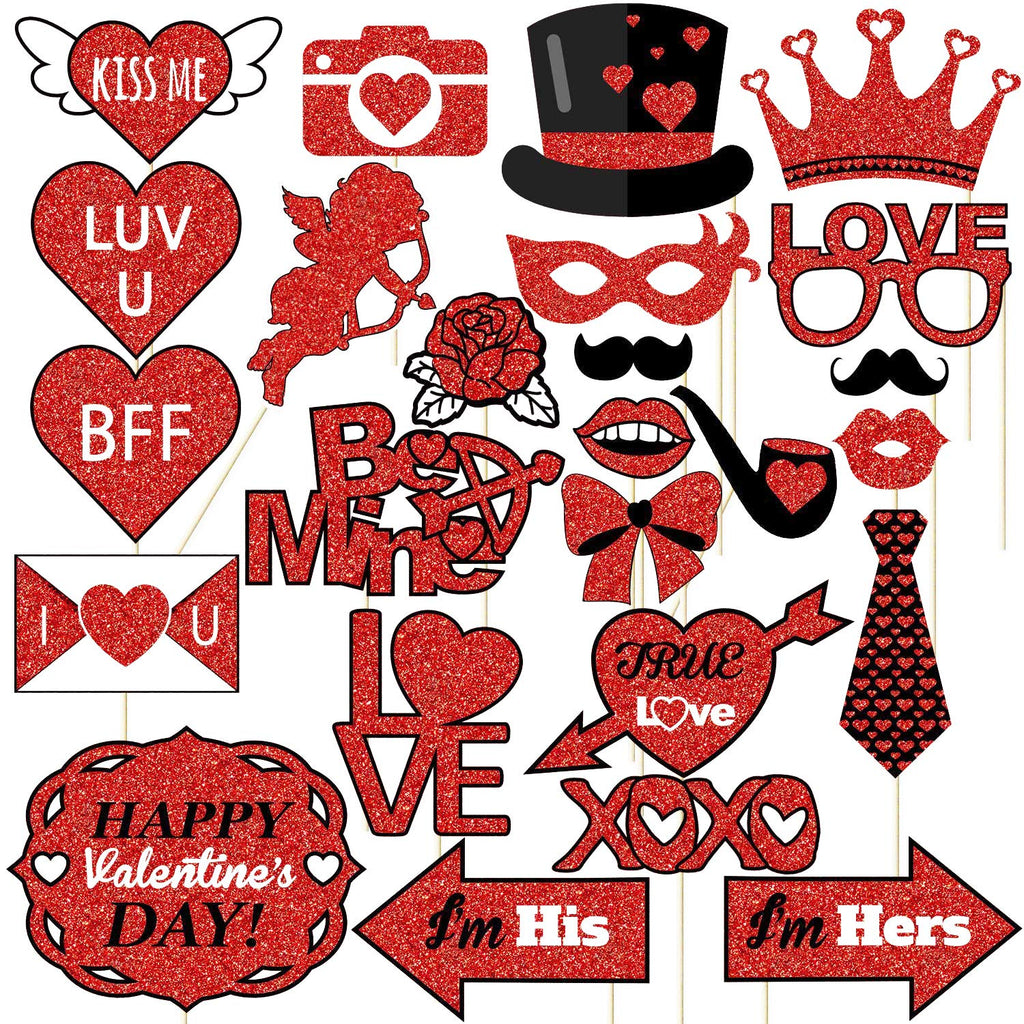 Valentines Day Photo Booth Props - 25Pcs, No DIY needed - Real Glitter, Large Size - Valentine Party Decorations Supplies