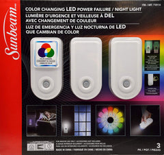 Sunbeam Color Changing LED Power Failure / Night Light, 3 Pack