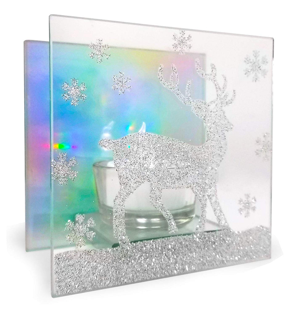 BANBERRY DESIGNS Christmas Aurora Candle Holder - Glittered Reindeer Silhouette - Rainbow Reflective Lighting