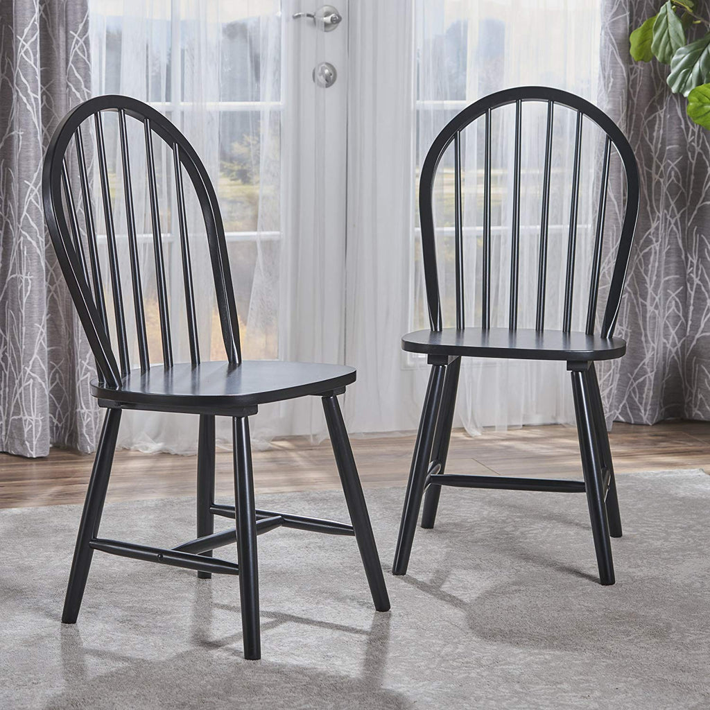 Great Deal Furniture | Crosby | Farmhouse Windsor Dining Chair | Set of 2 | in Black