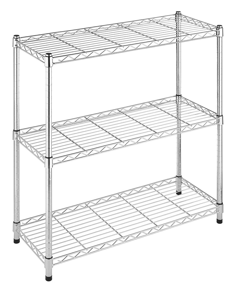 Whitmor Supreme 3 Tier Shelving with Adjustable Shelves and Leveling Feet - Chrome