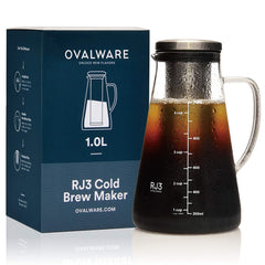 Airtight Cold Brew Iced Coffee Maker (& Iced Tea Maker) with Spout – 1.5L/51oz Ovalware RJ3 Brewing Glass Carafe with Removable Stainless Steel