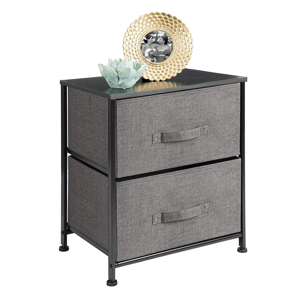 mDesign Vertical Dresser Storage Tower - Sturdy Steel Frame, Wood Top, Easy Pull Fabric Bins - Organizer Unit for Bedroom, Hallway, Entryway, Closets