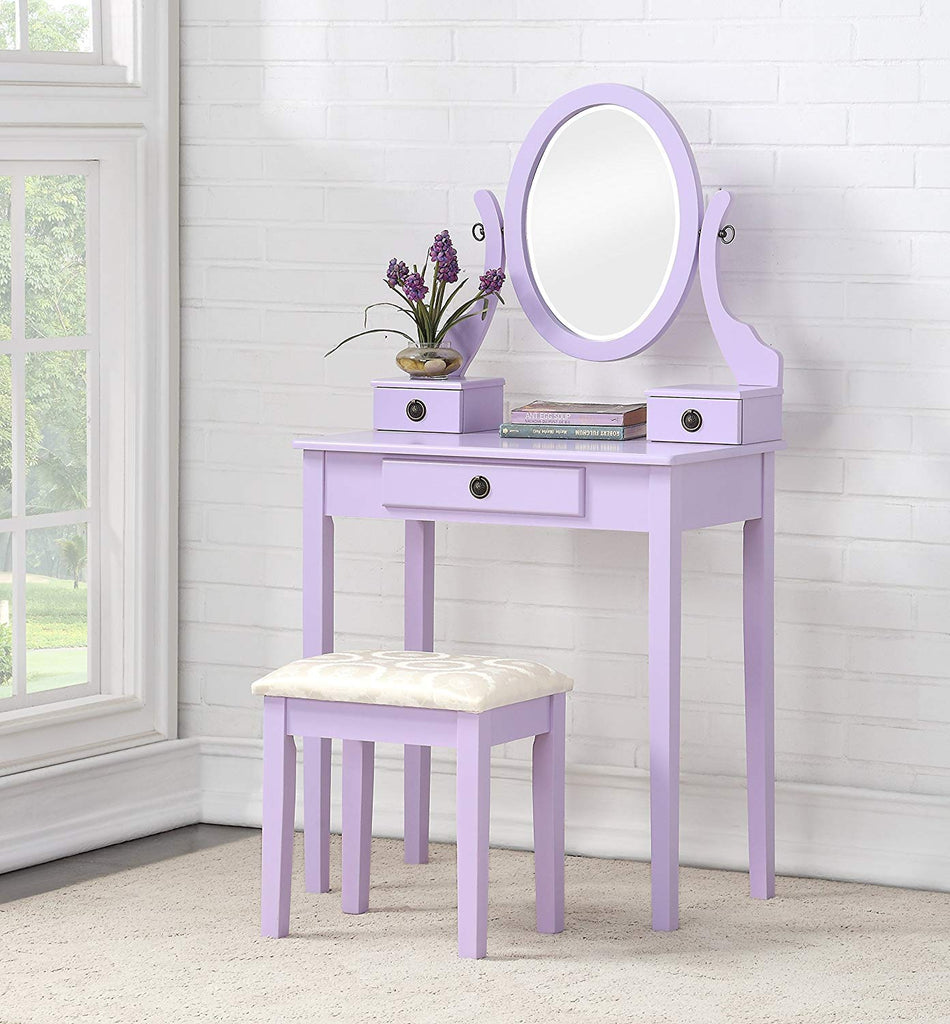 Roundhill Furniture 3415PL Moniys Wood Moniya Makeup Vanity Table and Stool Set Purple